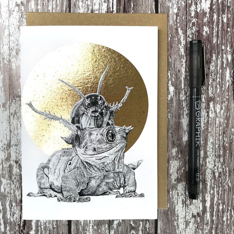 FF18 Crested Gecko & Cockroach Foiled Card - insideout-home