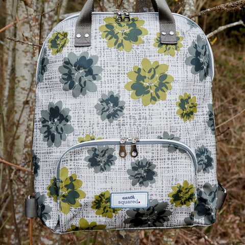 Grey Autumnal Flower Oil Cloth Backpack - insideout-home
