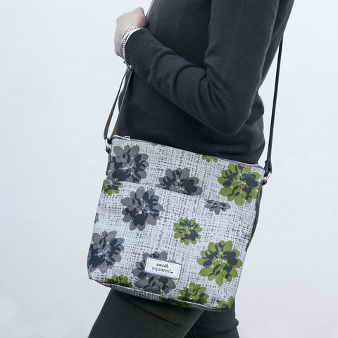 Grey Autumnal Flower Oil Cloth Messenger - insideout-home