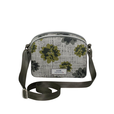 Grey Autumnal Flower Oil Cloth Halfmoon Bag - insideout-home