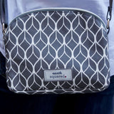 Grey Geometric Oil Cloth Halfmoon Bag - insideout-home