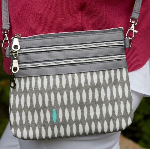 Grey Oval Oil Cloth 3 Zip Pouch - insideout-home