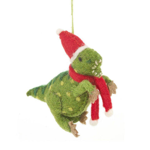 Handmade Biodegradable Felt Hanging Christmas Dinosaur Tree Decoration - insideout-home