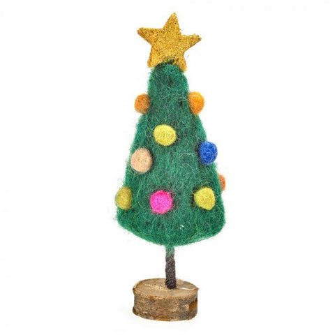 Handmade Felt Mini Xmas Tree On Wooden Stand - insideout-home