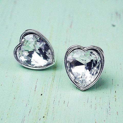 heart stud earrings - clear crystal