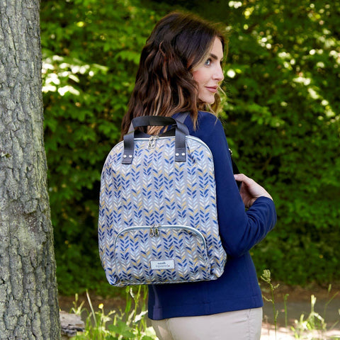 Blue Herringbone Oil Cloth Backpack - insideout-home