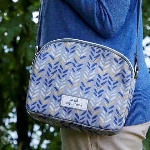 Blue Herringbone Oil Cloth Halfmoon Bag - insideout-home