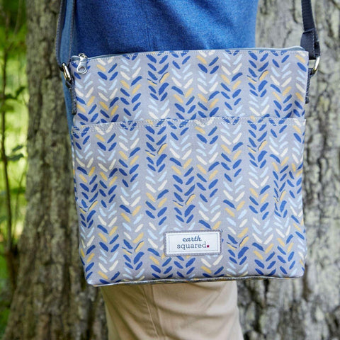 Blue Herringbone Oil Cloth Messenger Bag - insideout-home