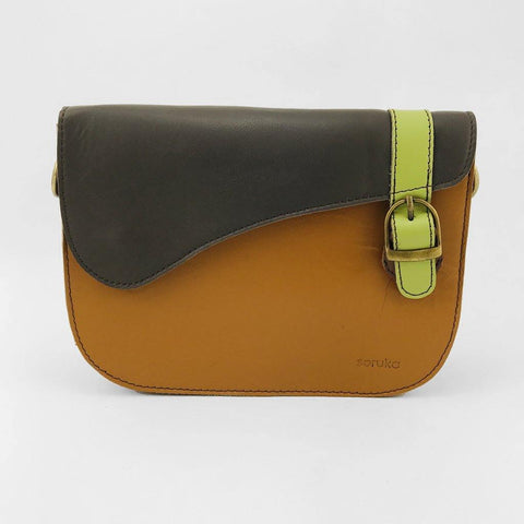 Soruka Upcycled Leather Saddle Bag Tan - insideout-home