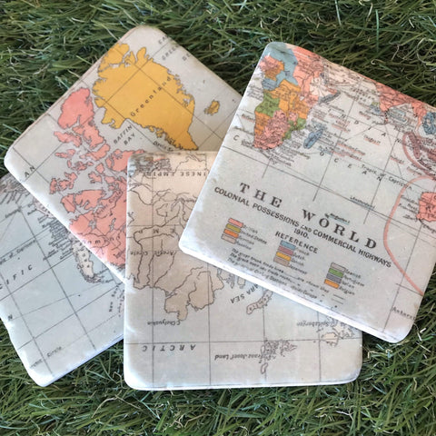 World Map Coasters - insideout-home