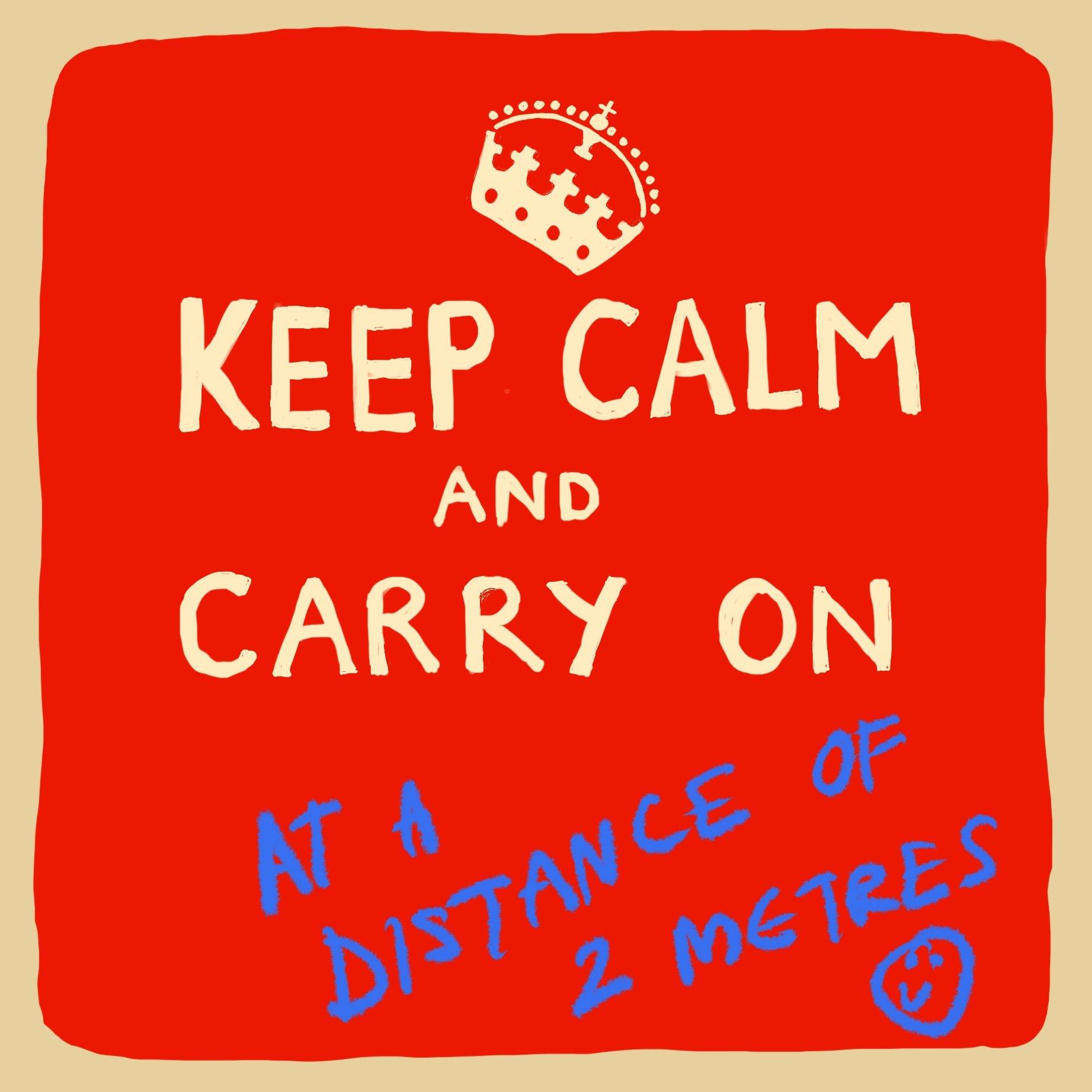 Keep Calm At A Distance Card, Arts & Entertainment by Insideout