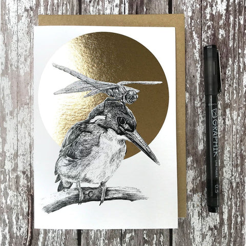 FF16 Kingfisher & Dragonfly Foiled Card - insideout-home