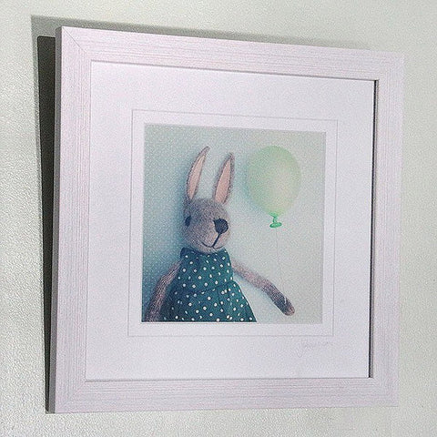 little green balloon handmade print (just mounted)