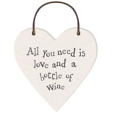 All You Need Is Love & A Bottle Of Wine Heart Tag - insideout-home