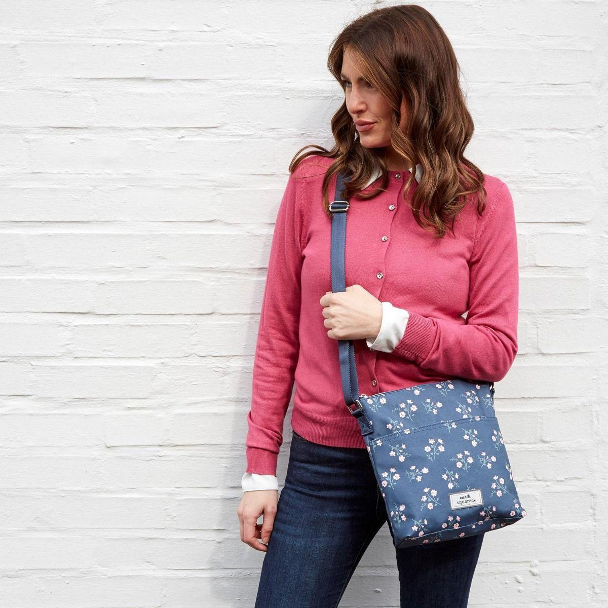 Oil Cloth Messenger Bag Navy Flower, Luggage & Bags by Insideout