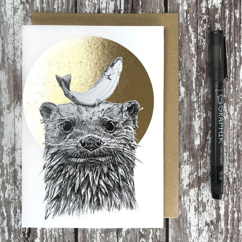 Otter & Salmon Foiled Card