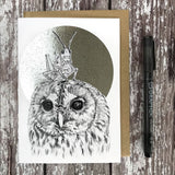 Owl & Grasshopper Foiled Card