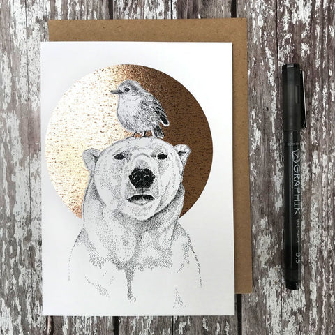 Polar Bear & Robin Foiled Card