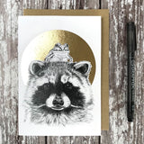 Raccoon & Frog Foiled Card