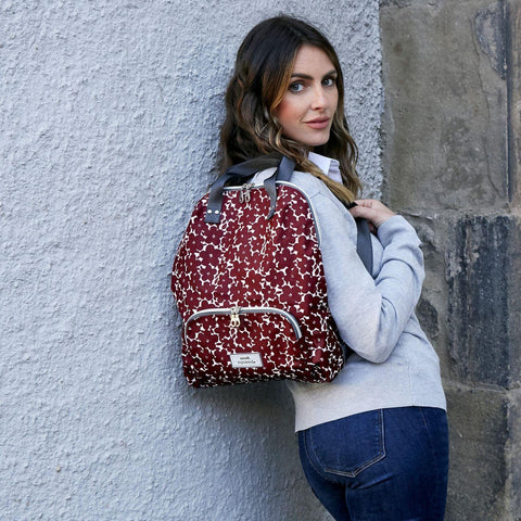 Red Flower Oil Cloth Backpack - insideout-home