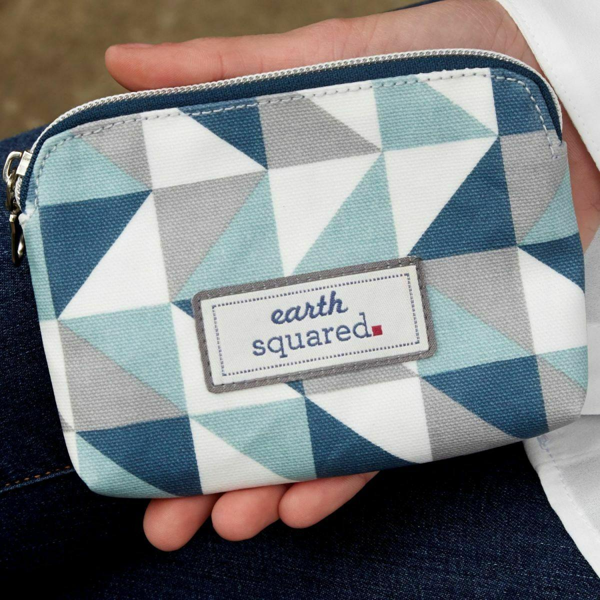 Spring Oil Cloth Anne Purse Blue Triangle by  Insideout