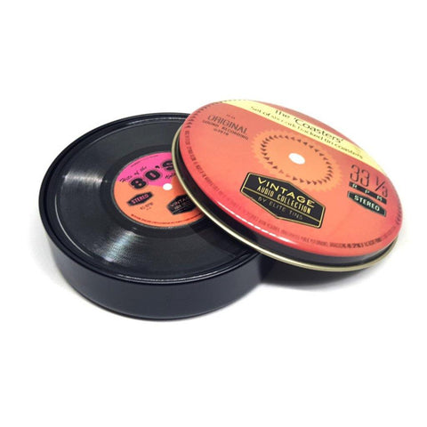 Vintage Record Coasters Set Of 6 In A Tin - insideout-home
