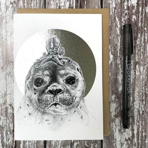 Seal & Octupus Foiled Card