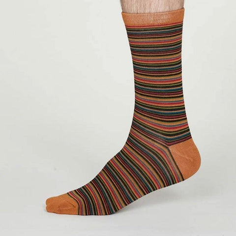 William Bamboo Stripe Mens Socks Amber Yellow - insideout-home