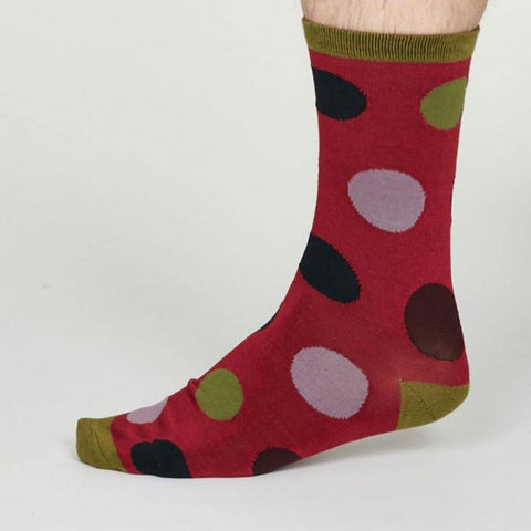 Newton Bamboo Spot Mens Socks Cranberry Red - insideout-home