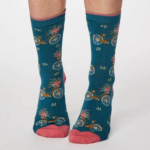 Bicicletta Bamboo Womens Socks Lagoon Blue - insideout-home