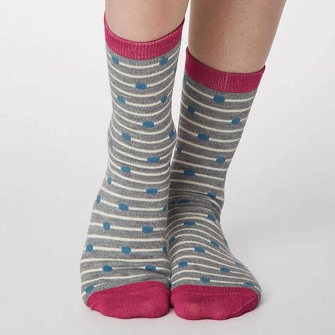 Hope Bamboo Womens Cream Spot Socks Grey Marle - insideout-home