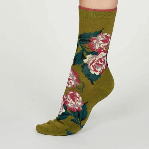Rosie Bamboo Rose Womens Socks Lichen Green - insideout-home