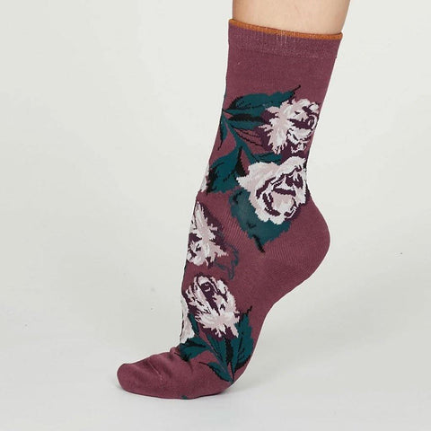 Rosie Bamboo Rose Womens Socks Mauve Purple - insideout-home