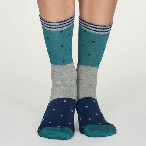 Mercy Bamboo Spot Womens Socks Turquoise - insideout-home