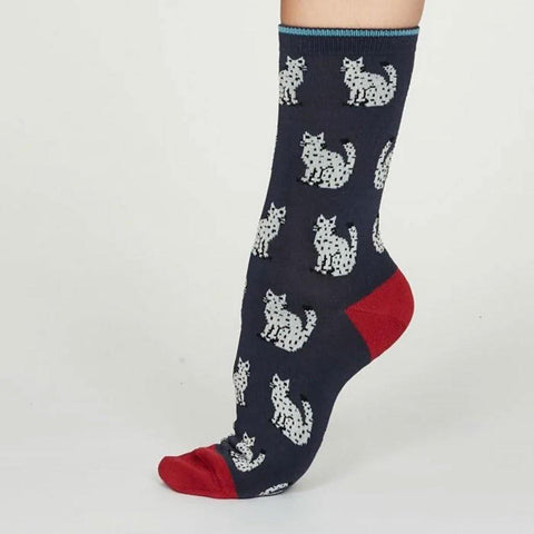 Kitty Bamboo Cat Womens Socks Indigo - insideout-home