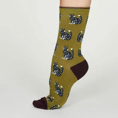 Kitty Bamboo Cat Womens Socks Lichen Green - insideout-home