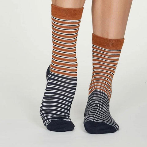 Isabel Bamboo Stripe Womens Socks Amber Yellow - insideout-home