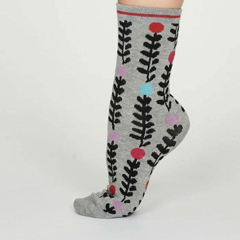 Keira Abstract Floral Bamboo Womens Socks Grey Marle - insideout-home