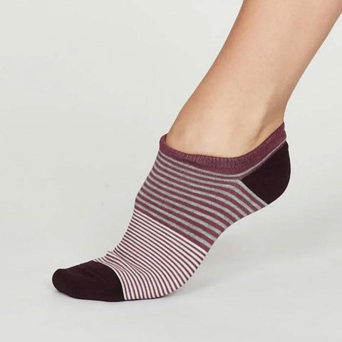 Agnes Bamboo Stripe Womens Trainer Socks Mauve Purple - insideout-home