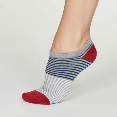 Agnes Bamboo Stripe Womens Trainer Socks Grey Marle - insideout-home