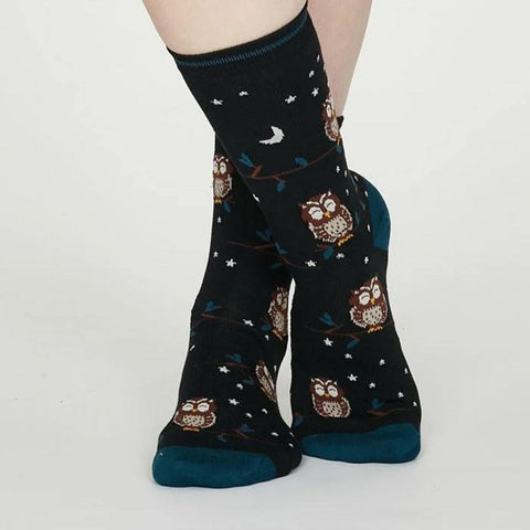 Night Owl Organic Cotton Floral Socks Midnight Blue - insideout-home