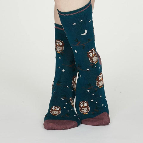 Night Owl Organic Cotton Floral Socks Teal