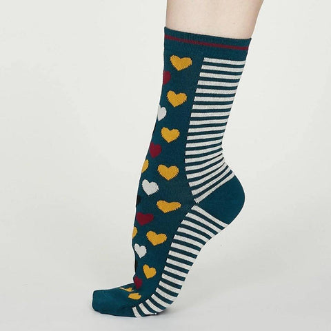 Eileen Bamboo Heart Stripe Socks Teal Blue - insideout-home