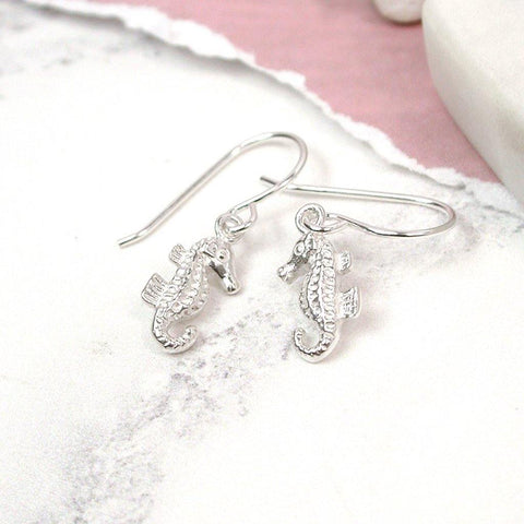 Silver Seahorse Drop Earrings - insideout-home