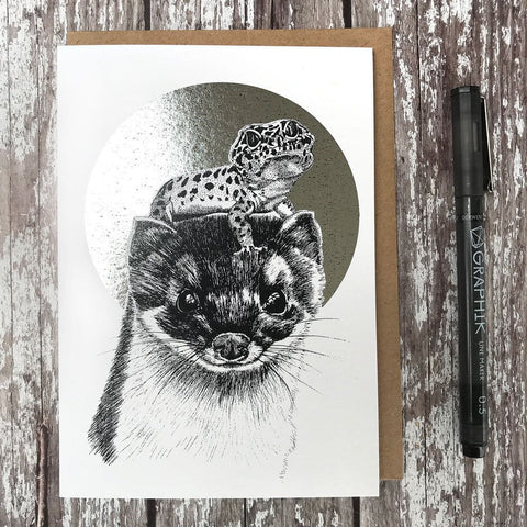 Stoat & Newt Foiled Card