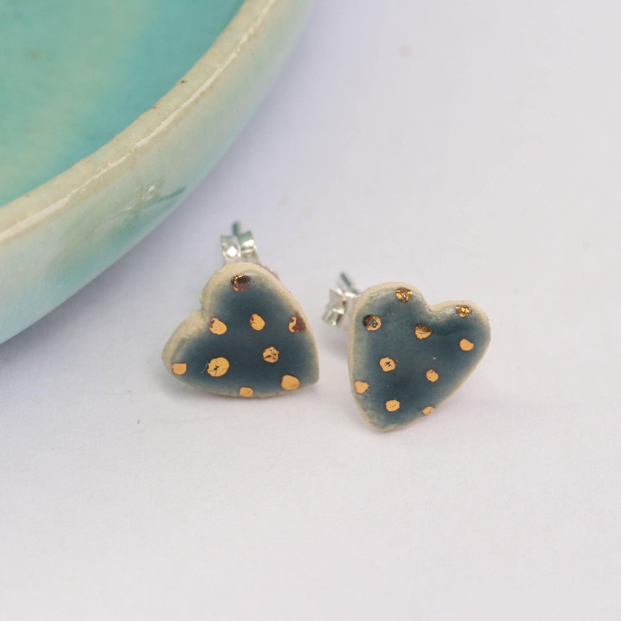 Storm Dotty Ceramic Heart Studs With Gold Lustre Details by  Insideout
