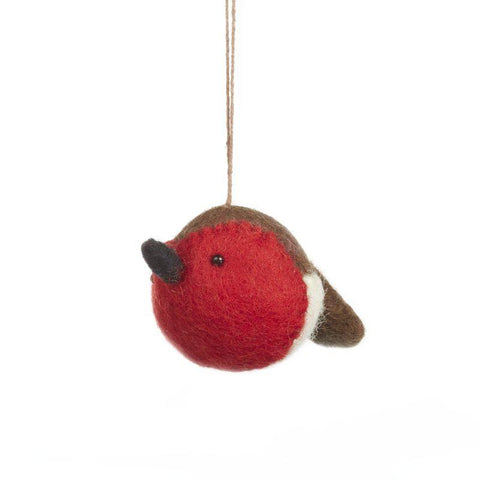Handmade Needle Felt Sweetheart Robin Hanging Christmas Tree Decoration - insideout-home
