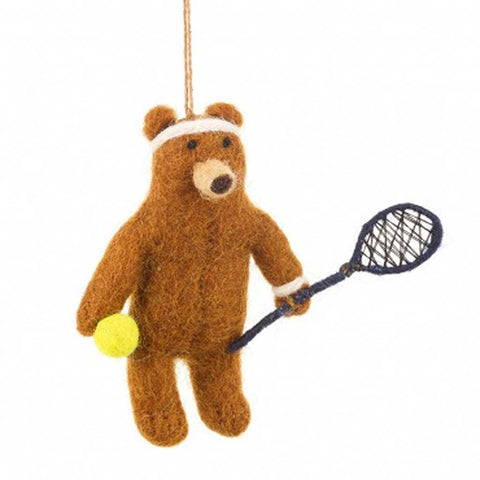 Tennis Felt Bear Hanging - insideout-home
