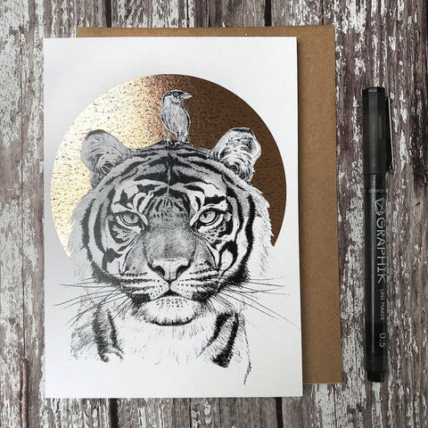 Tiger & Brahminy Starling Foiled Card