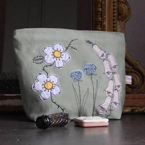 Wild Flowers Embroidered Wash Bag - insideout-home